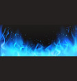realistic blue fire border burning flame clipart vector image vector image