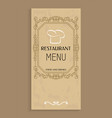 restaurant menu food and drinks design chef hat vector image