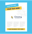 rocket title page design for company profile vector image vector image