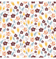 seamless pattern with garden florals and plant vector image vector image