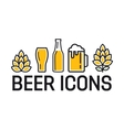 set colorful beer icons vector image