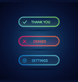 set modern neon glowing buttons vector image vector image