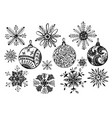 set of doodle christmas snowflake and balls vector image vector image