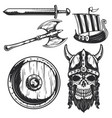 set viking elements for creating your own logos vector image vector image