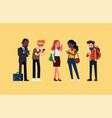 standing people checking phones vector image