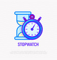 stopwatch and hourglass thin line icon vector image