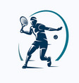 tennis player stylized silhouette emblem or logo vector image vector image