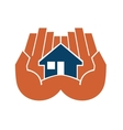 Two hands cupping a house vector image