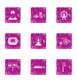 urban life icons set grunge style vector image vector image