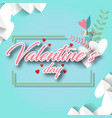 valentines day in square flower and leaves blue ba vector image