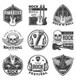 vintage monochrome rock music labels set vector image