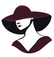 woman in a hat in black and red colors isolated vector image vector image