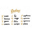 zodiac signs set and letterings hand drawn vector image vector image