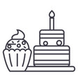 dessert line icon sign on vector image