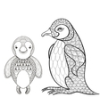 pinguin set for adult coloring page Hand vector image