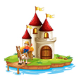 A boy and his cart in front of a castle vector image vector image