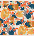 Abstract color tropical floral elements paper