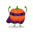 angry pumpkin cartoon flat character in superhero vector image vector image