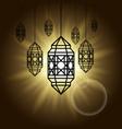 arabic lantern black shadow silhouette with sun vector image