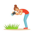 beatuful woman taking picture of green grass with vector image