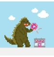 Big cartoon dinosaur attacking donut cafe vector image vector image