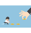 Big hand use money to entice businessman vector image vector image