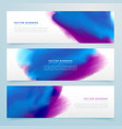 blue and purple watercolor header banners vector image vector image