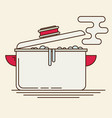 boiling water in pan flat vector image vector image