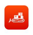bulldozer icon digital red vector image vector image