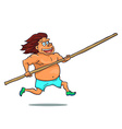 Cartoon running pole vaulter character vector image vector image