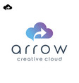cloud computing with arrow for logo design vector image