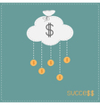 Cloud in shape of bag hanging coins with dollar vector image vector image