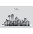 Dallas city skyline silhouette in grayscale vector image vector image