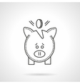 Deposit pig flat line icon vector image vector image