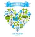 Ecological set with green concept icons in heart vector image vector image