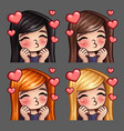 emotion icons happy female kisses vector image vector image