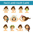 face and hair care female beauty daily procedures vector image vector image