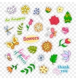 Fashion patch badges Flowers set Stickers pins vector image vector image