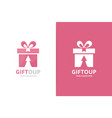 gift and arrow up logo combination present vector image