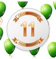 Golden number eleven years anniversary celebration vector image vector image
