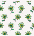 green sketched flowers seamless pattern texture on vector image vector image