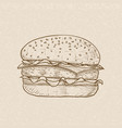 hamburger brown hand drawn sketch on beige vector image vector image