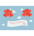 Heart balloons with Happy Valentines Day banner vector image vector image