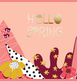 hello spring feminine flower collage banner vector image vector image