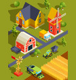 isometric landscape of village or farm with vector image vector image
