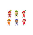 kids in carnival clothes set cute little boys and vector image vector image