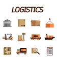Logistic flat icon set vector image vector image