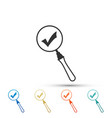 magnifying glass and check mark icon isolated vector image