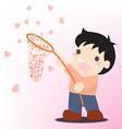 man with a net catches flying heart search love vector image vector image