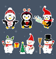 new year and christmas card a set of stickers of vector image vector image